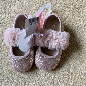 Children's place pink sparkle shoes w faux fur NWT